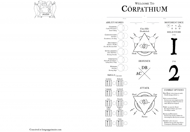 Cörpathium Character Sheet - Morbidly Encumbered edition 01