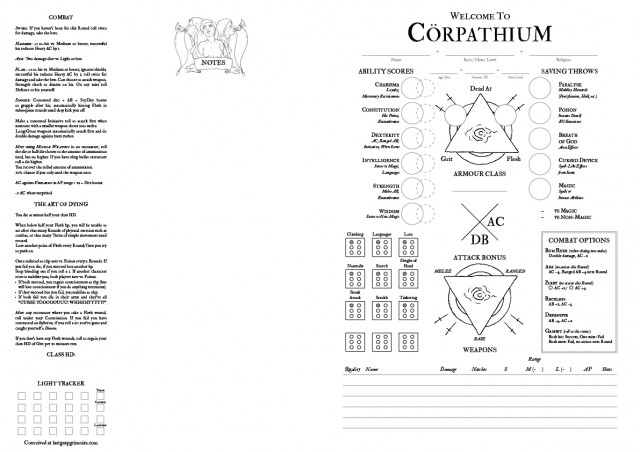 Cörpathium Character Sheet Cover